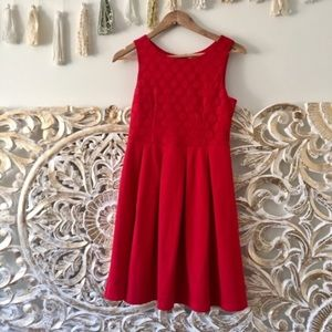 Modcloth Red Pleated Dot Dress